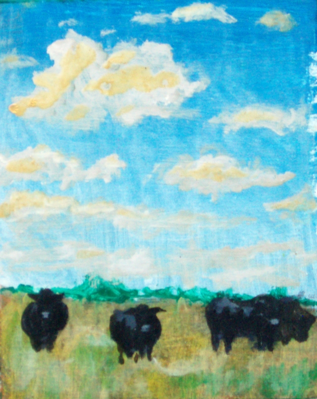 painting sold - Angus in Field