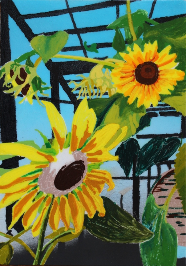 Alex Conrad sunflowers in progress